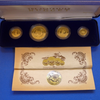 Australien 1 Oz - 1/10 Oz 1986 Nugget Proof Set, Full Set, selten