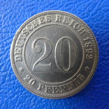Kaiserreich 20 Pfennig 1892 G Jaeger 14 Tolle Erhaltung Selten