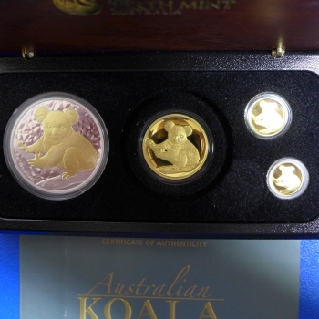 Australien 4 Münzenset 2009 Koala High Relief Gold und Silber in PROOF / Polierte Platte