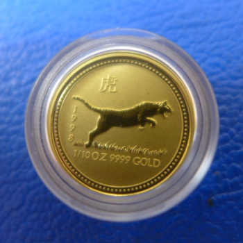 1/10 Oz 1998 Tiger Lunar I Gold