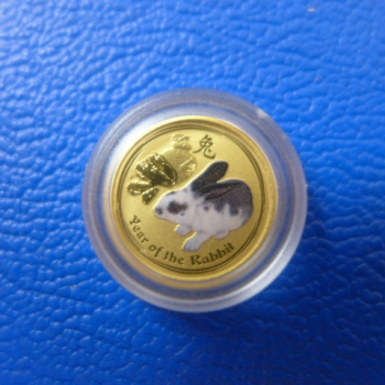 1/20 Oz 2011 Hase Lunar II Gold coloriert