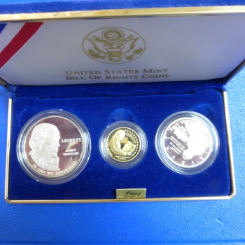 USA Bill of Rights Set 1993 Gold und Silber in Polierte Platte
