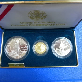USA The Columbus Quinentenary Set 1992 Gold und Silber in Polierte Platte