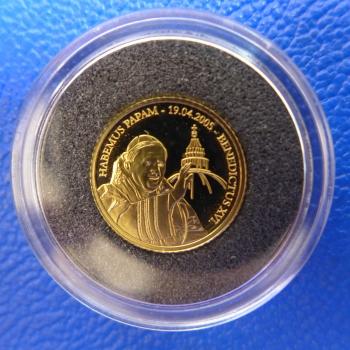 Kleinste Goldmünze D Welt Congo 20 Francs 2005 Papst Benedikt