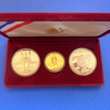 USA Three Coin Set 1994 Olympia L.A. Gold und Silber in Polierte Platte