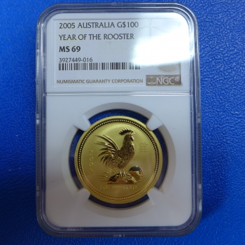 1 Oz 2005 Hahn Lunar I Gold MS 69 NGC - Slap
