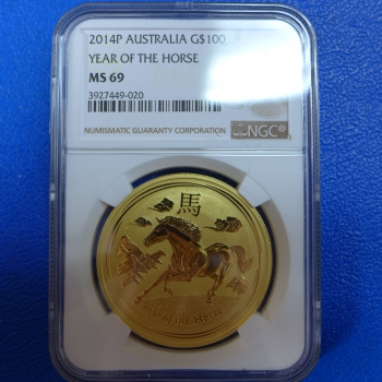 1 Oz 2014 Pferd Lunar II Gold MS 69 NGC - Slap