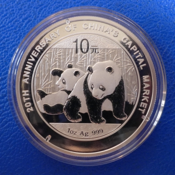 1 Oz 2010 Panda Jubiläumsausgabe 20th China Capital Market Silber in Kapsel + Etui