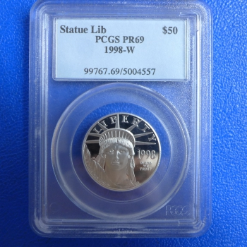 USA 50 $ 1998 American Eagle 1/2 Oz Platin in PCGS-Slap MS-69