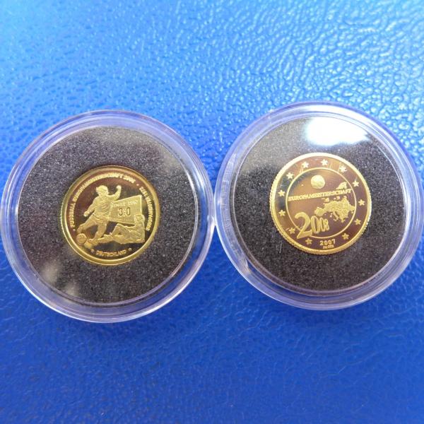 21 X Kleinste Goldmünzen Der Welt Fußball Europameisterschaft 2008 In Pp 125 Oz Feingold